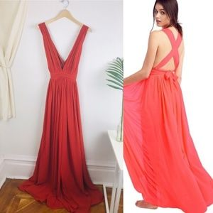 Free People x Bariano Rust Maxi Dress Strappy Open